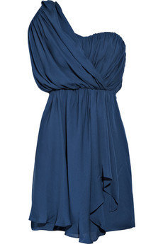 Tibi|One-shoulder draped silk dress|NET-A-PORTER.COM