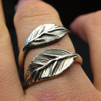 $70.88 Leaf ring in sterling silver  Made to your size by nellyvansee