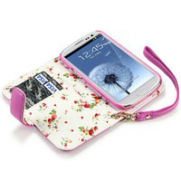 SAMSUNG i9300 GALAXY S3 HOT PINK PREMIUM PU LEATHER WALLET CASE WITH FLORAL INTERIOR