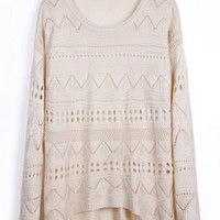 Beige Geometric Eyelet Embellished Knit Sweater