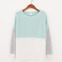 Three Colors Sweater - Mint &amp; White.. on Luulla