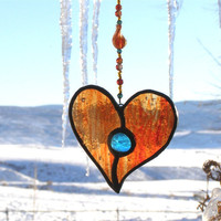 Tangerine Orange Stained Glass Heart by GreenhouseGlassworks