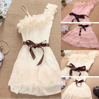 Women Pink/Apricot/White One Strap Cute Pleated Party Chiffon Dress Regular Size