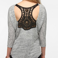 Sparkle &amp; Fade Applique-Back Tunic Top