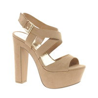 New Look Scraper Beige Platform Sandals at asos.com