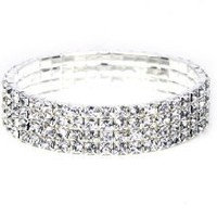 White Gold Tone Stretchable Link Tennis Bracelet with Diamond Cut Cubic Zirconia Crystal Four Strands: Jewelry: Amazon.com