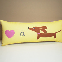 Dachshund Pillow Love a Doxie Wiener Dog in by persnicketypelican