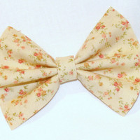 Hair Bow Vintage Inspired 1920s Pale Yellow with Flowers Clip Rockabilly Pin up Teen Woman