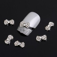 Amazon.com: Yesurprise Silver Bow Tie 10 pieces Silver 3D Alloy Nail Art Slices Glitters DIY Decorations: Beauty