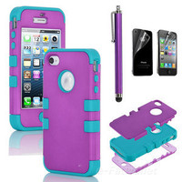 Stylus + For iPhone 4S 4 Hybrid High Impact Case Cover Purple / Blue Silicone
