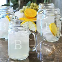Monogram Drinking Jars - Set of 4 - Monogrammed Drinking Jars - Barware - Home Accents - Home Decor | HomeDecorators.com