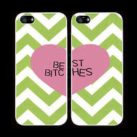 TIFFANY green CHEVRON best bitches cases one for you one for your best friend/bitch iPhone 4 iPhone 4s iPhone 5  pink heart trendy