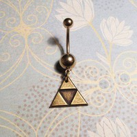 Triangles Belly Ring, Navel Ring, inspired by the Triforce from Zelda