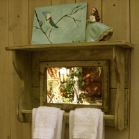 Handmade Mirror Shelf Reclaimed Wood Towel by honeystreasures