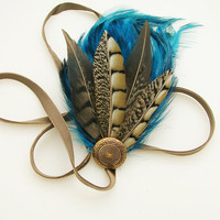 Sapphire blue feather fascinator NEYTIRI design by CastleMemories