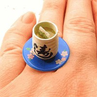 Japanese Green Tea Cup Miniature Food Ring BLUE