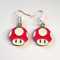 Super Mario Earrings Pink Mushroom by KitschBitchJewellery on Etsy