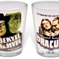 Universal Monsters Vintage Horror Movies 4 piece Shot Glass Set Clear Glass
