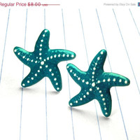 ON SALE teal starfish earrings - starfish earrings - starfish jewelry - starfish studs - teal earrings - teal studs - teal jewelry - teal -