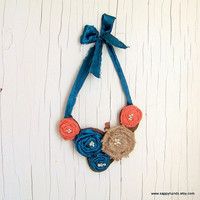 Handmade Shabby Sheek Fabric and Burlap Rosette Bib Necklace,  Carrot Orange, Peacock Blue and Burlap Bib Necklace
