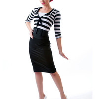 Black & White Savvy In Stripes Top - Unique Vintage - Cocktail, Evening & Pinup Dresses