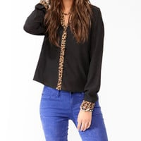 Wild Trimmed Button Up Blouse | FOREVER 21 - 2013902909