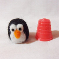 Needle Felted Penguin - miniature penguin - 100% merino wool - micro animal - wool felt animal