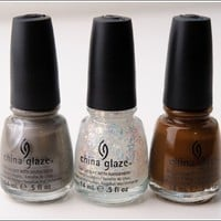 China Glaze Hunger Games collection---Hook and Line, Luxe and Lush, Mahogany Magic