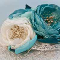 Ivory and Green Silk Flower Fascinator with Vintage by BelleBlooms