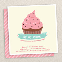 Cupcake Invitation Cupcake birthday Pink Girl by EllisonReed
