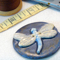 Ceramic Dragonfly Button by GrapeVineCeramicsGft on Etsy