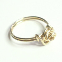 Love Knot Rose Ring Merlin&#x27;s Gold Wire Wrapped Ring