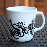 White Teacup with Black Henna Design
