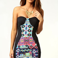 Shannon Geo Printed Panel Bodycon Dress