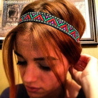 Aztec Tribal Print Headband with Elastic Stretch