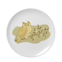 Great Horned Owl Party Plate from Zazzle.com