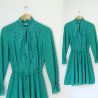 Teal green Romantic 1970s lace front midi dress by TheArborVitae