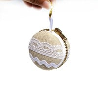Linen and lace macaron coin purse - jewelry box, engagement ring box, zakka