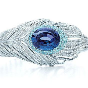 Tiffany & Co. | Item | Tanzanite peacock bracelet in platinum with tourmalines and diamonds. | United States