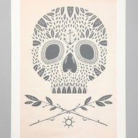 Urban Outfitters - Kelli Murray For Society6 Leaf Skull Art Print