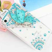 iphone 4s case, crystal iphone 4 case iphone cover skin iphone 4 cover case - crystal butterfly iphone 4s case