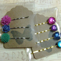 CLEARANCE - Gift Set - Colorful Flower Jewel Hair Pin Set