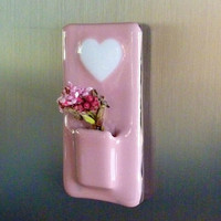 Valentine Heart Glass Pocket Magnetic Vase by bprdesigns on Etsy