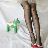 Fashion Pretty Heart Pattern Jacquard Pantyhose Tights Stocking Free Shipping