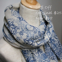 Beige Paisley Scarf  On Sale by dailyaccessoriez on Etsy