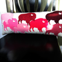 Valentine Buffalo Pillow in Pretty Shades of Pink Wool Felt