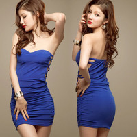 Women Sexy Strapless Bandeau Hollow Cocktail Party Tube Mini Dress