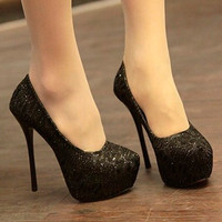 Womens Bling Lace Stiletto Heels Platform Classic Pumps Shoes