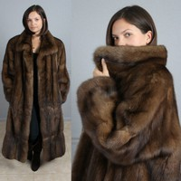 "LUXURIOUS SUPER SOFT EXTRA LONG 52"" GENUINE RUSSIAN SABLE FUR COAT XL"