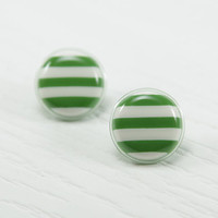 Green and White Stud Earrings 20 mm - Green Striped Resin Bold Earrings - Striped Post Earrings - Green and White Studs - Ear Studs - Studs